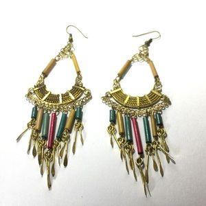 "Jewelry - Peruvian earrings fringe long Gold Tone Wood 4.5"""